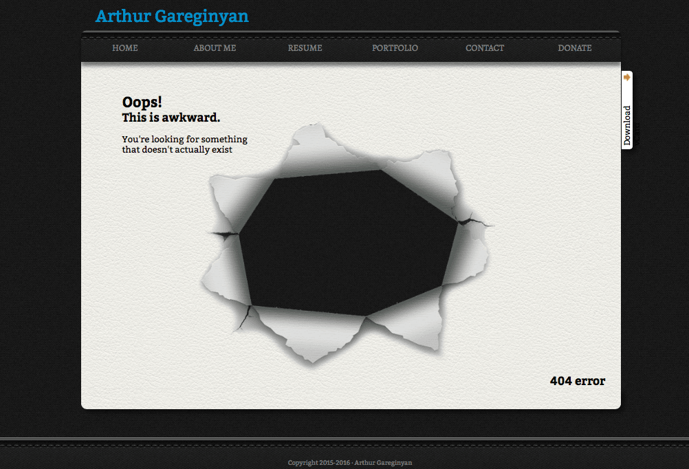 Custom 404 page for website hosted on GitHub
