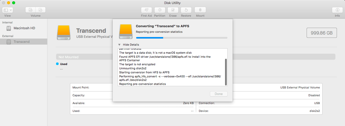 How to convert a hard drive from HFS+ to APFS