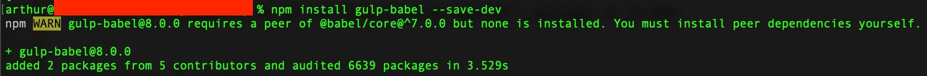 How to fix: npm WARN gulp-babel@8.0.0 requires a peer of @babel/core@