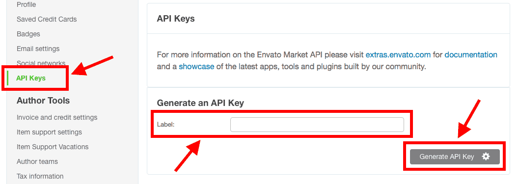 How to generate an Envato Marketplace API key