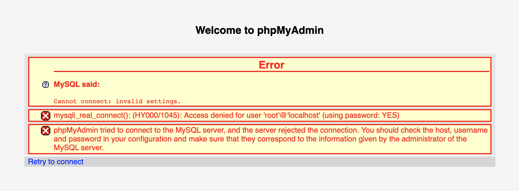 What to do if phpMyAdmin from the MAMP installation fails to access MySQL?