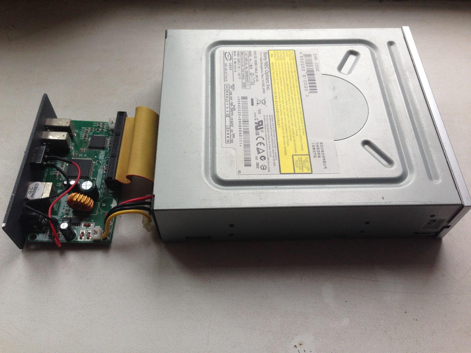 Зовнішній дисковод з контейнера під вінчестери