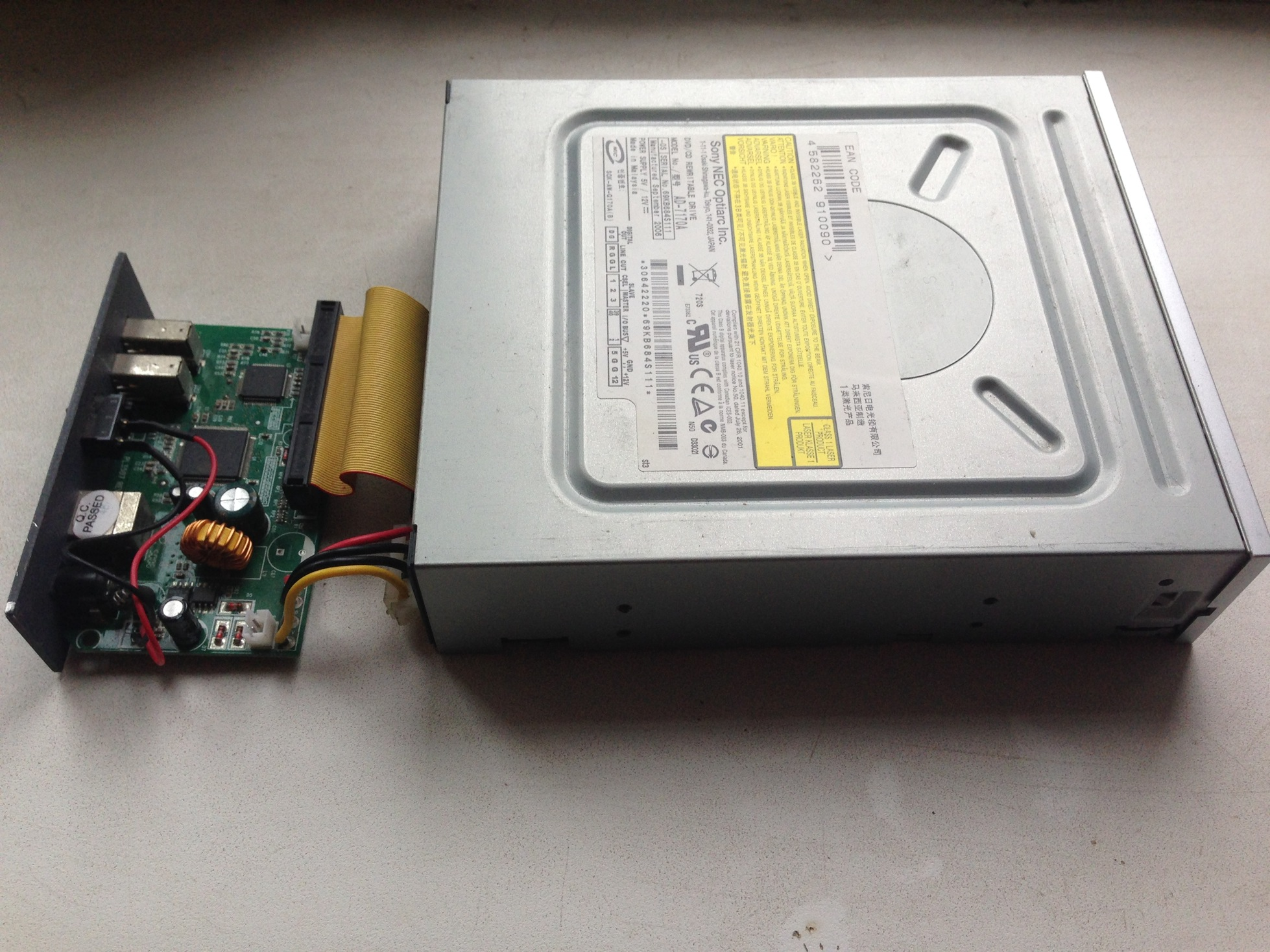 External optical disk drive from the external HDD drive