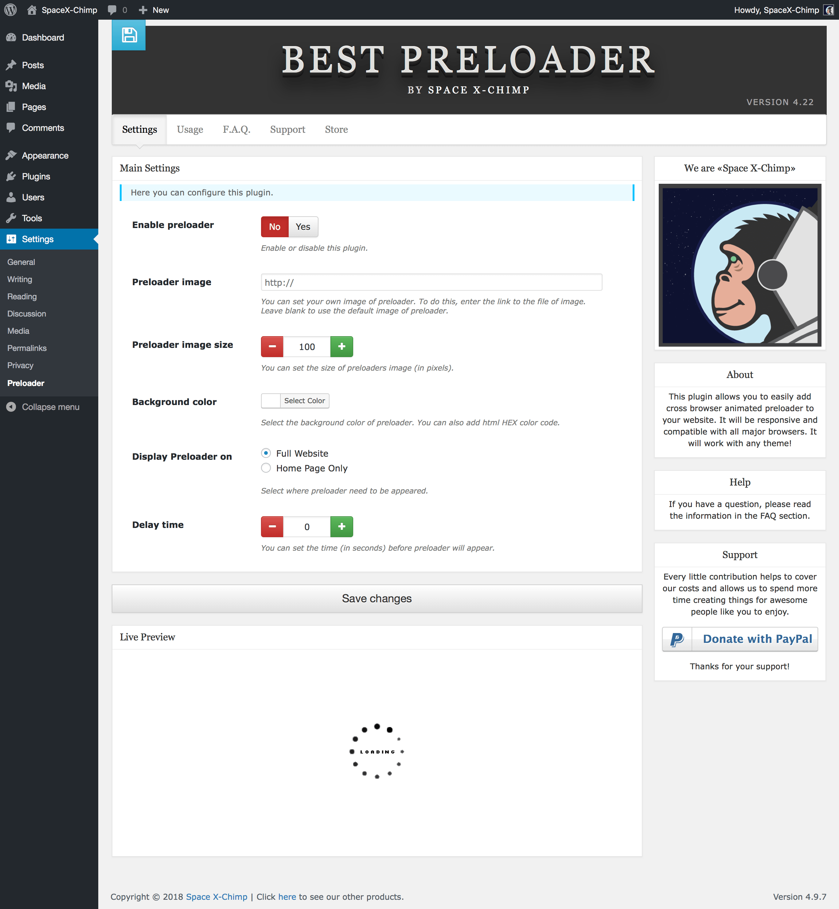 "WP plugin ""Best Preloader"" by Space X-Chimp"
