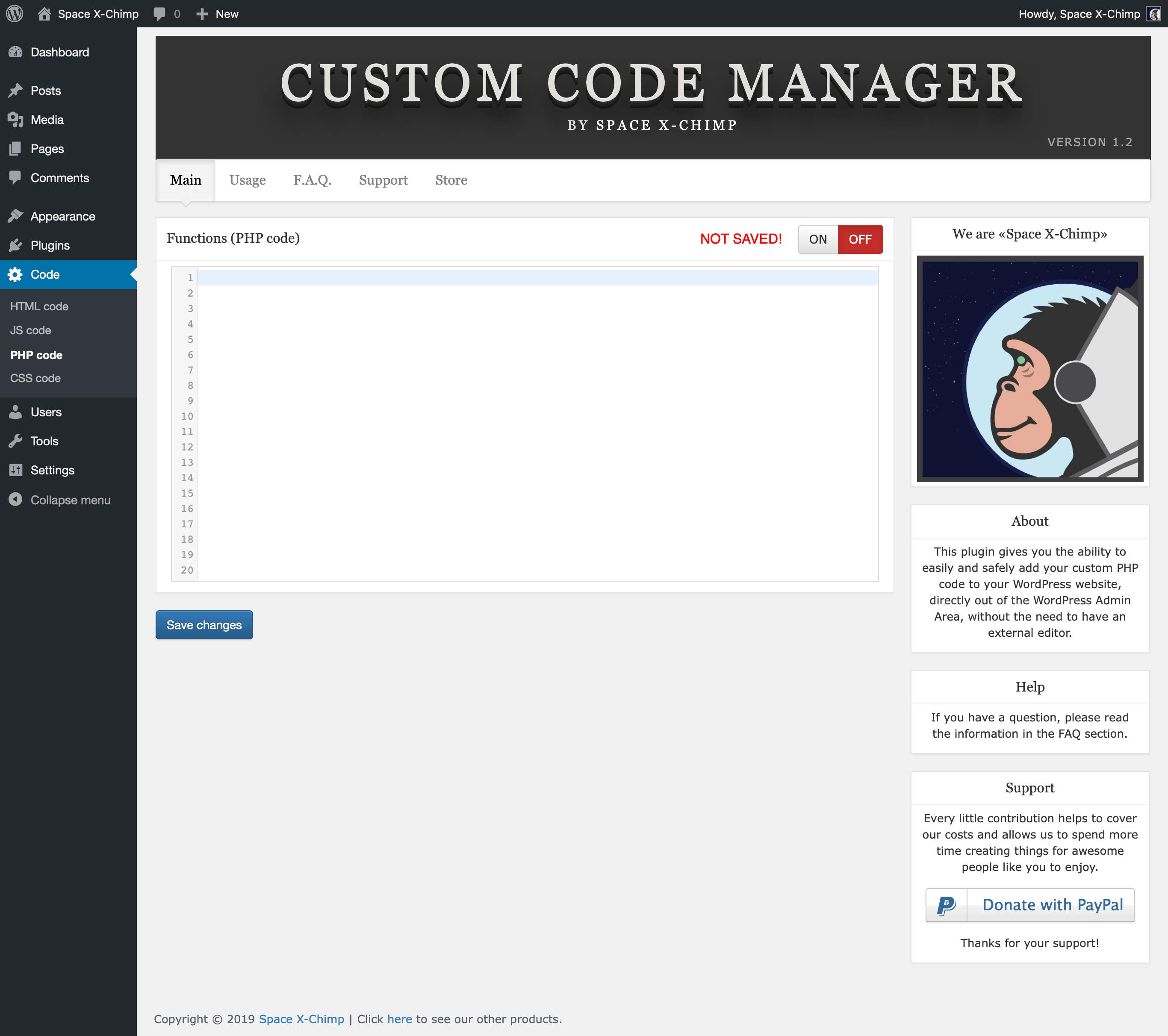 "WP plugin ""Custom Code Manager"" by Space X-Chimp"
