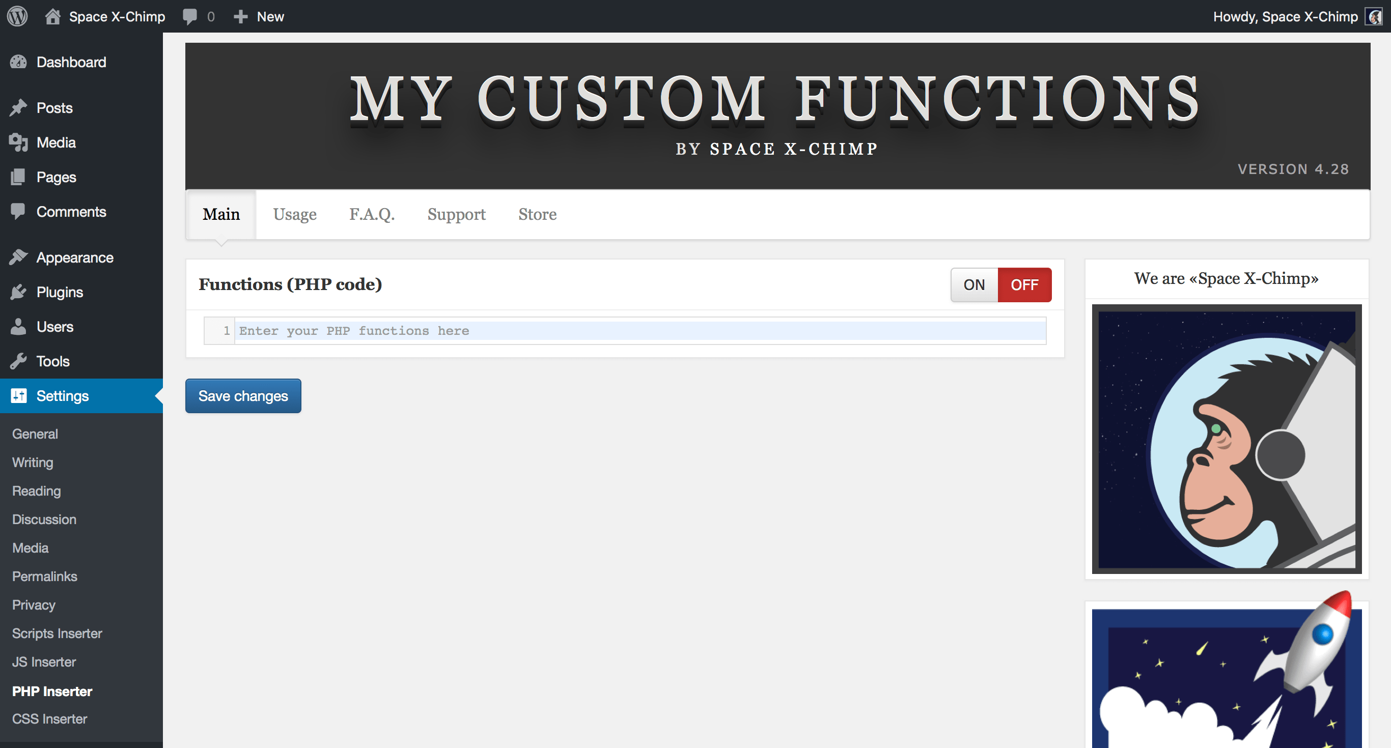 "WP plugin ""My Custom Functions"" by Space X-Chimp"