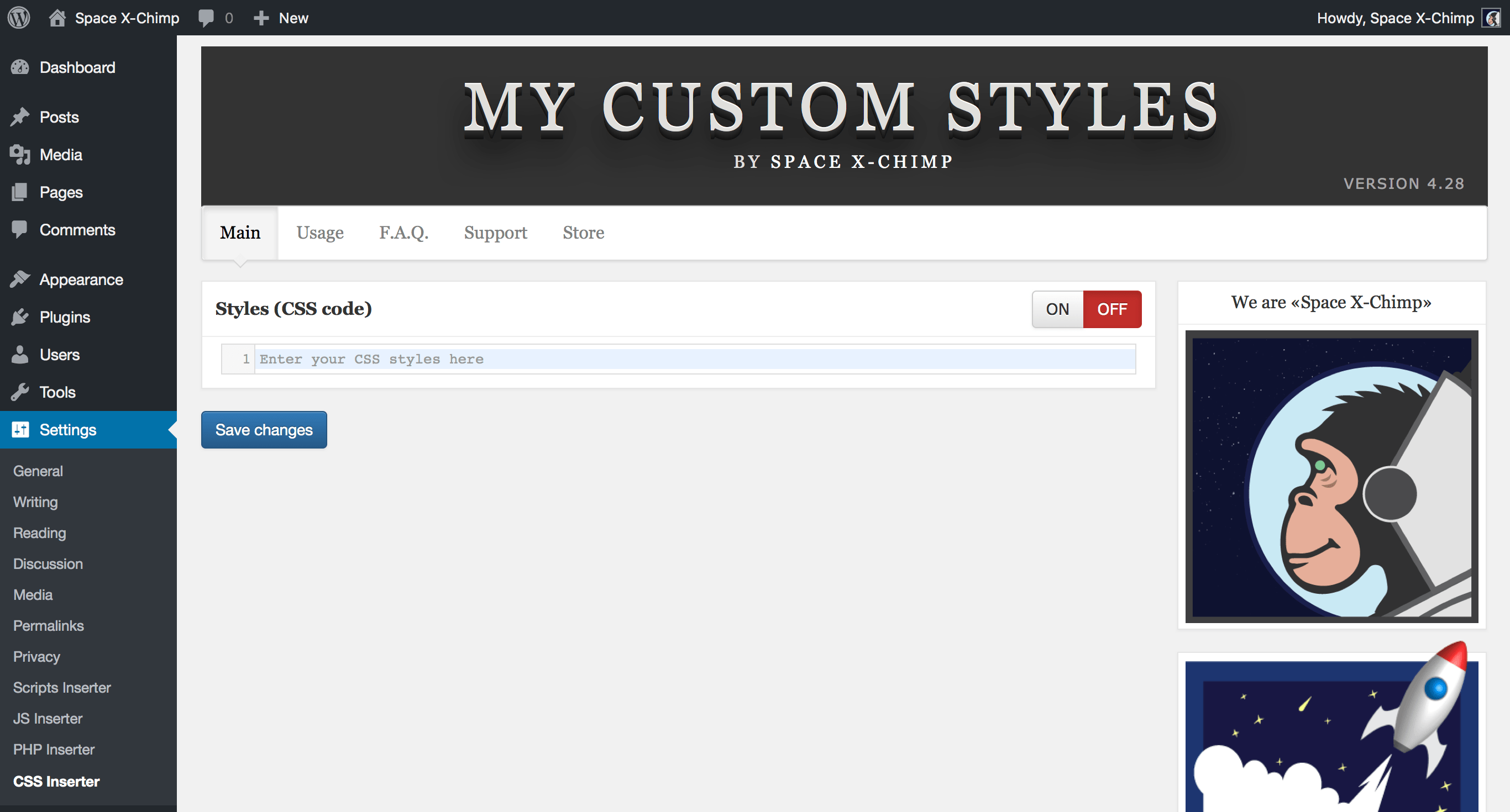 "WP plugin ""My Custom Styles"" by Space X-Chimp"