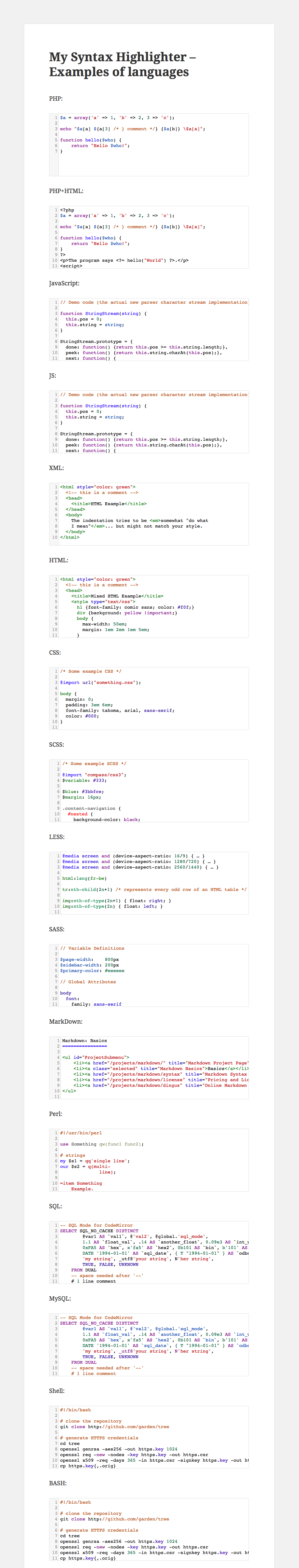 "WP plugin ""My Syntax Highlighter"" by Space X-Chimp"