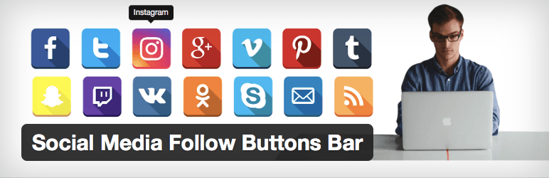 "WP plugin ""Social Media Follow Buttons Bar"" by SpaceX-Chimp"