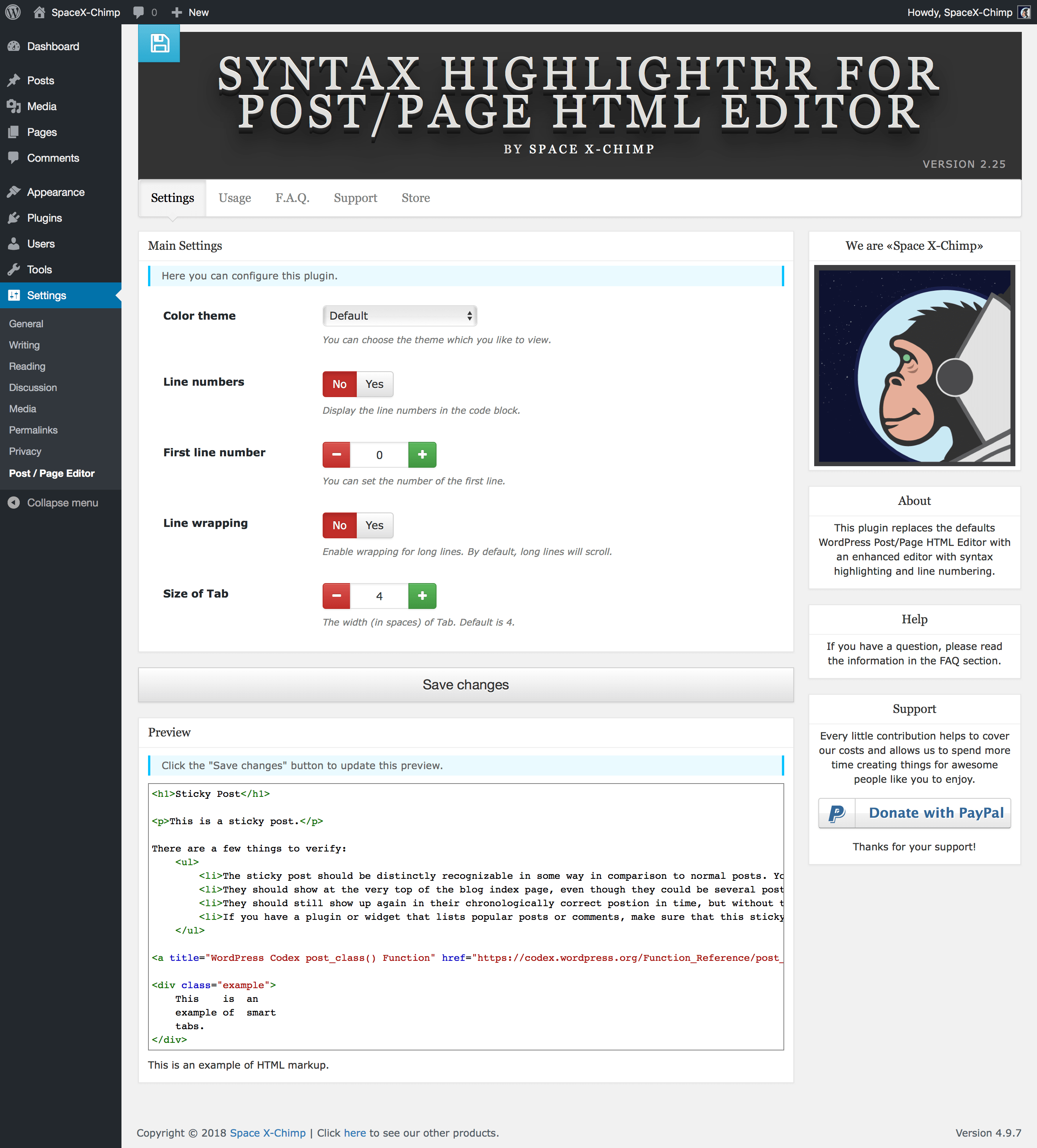 "WP plugin ""Syntax Highlighter for Post/Page HTML Editor"" by Space X-Chimp"