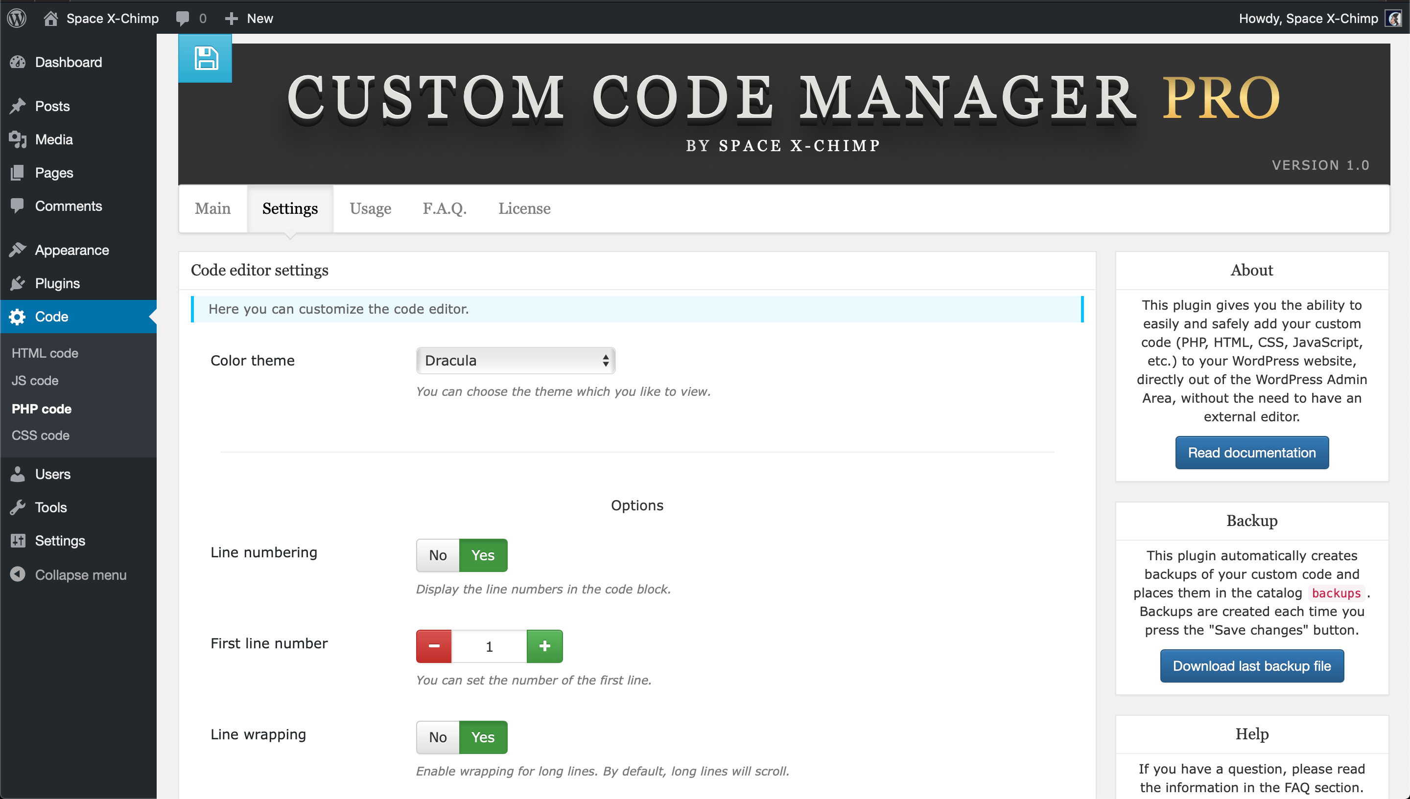 "WP plugin ""Custom Code Manager PRO"" by Space X-Chimp"