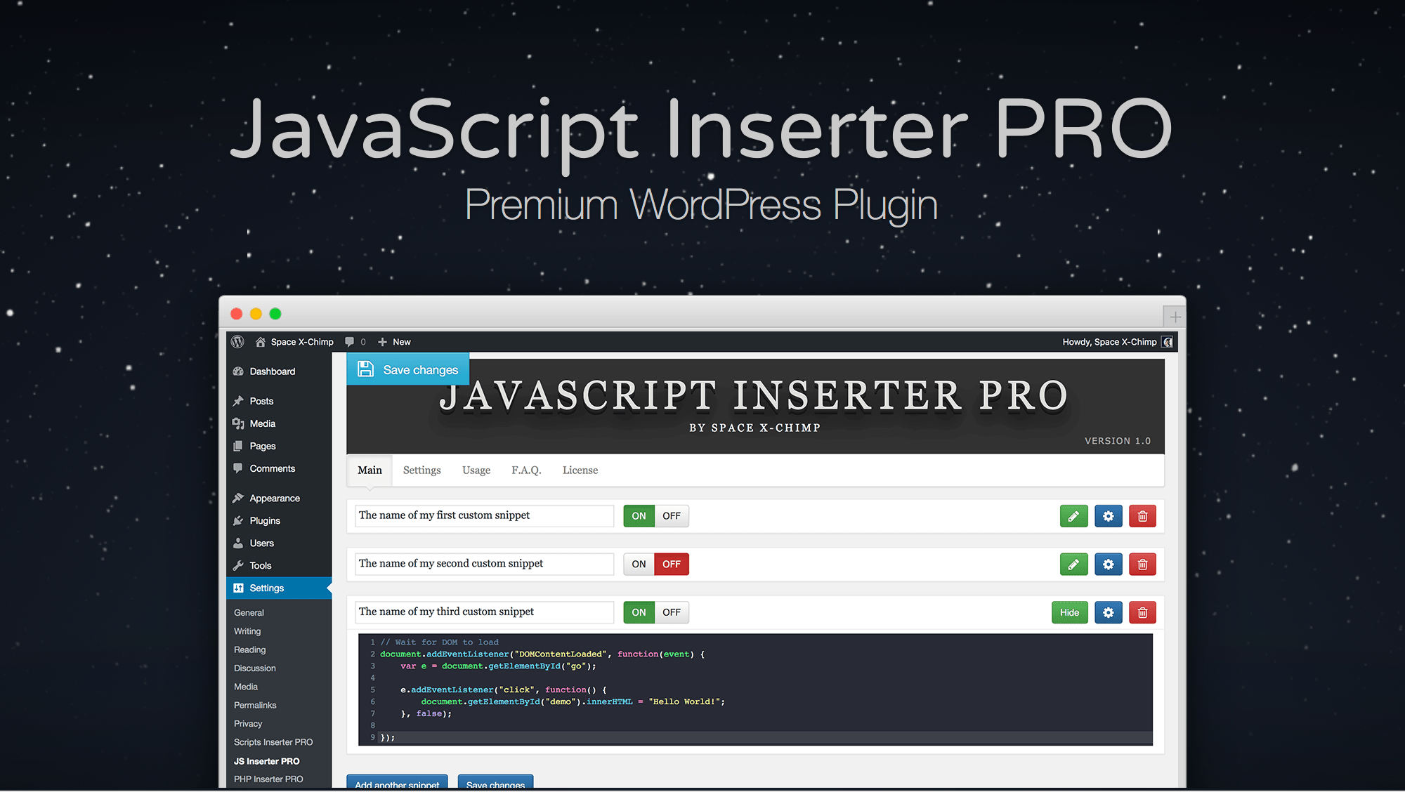 "WP plugin ""JavaScript Inserter PRO"" by SpaceX-Chimp"