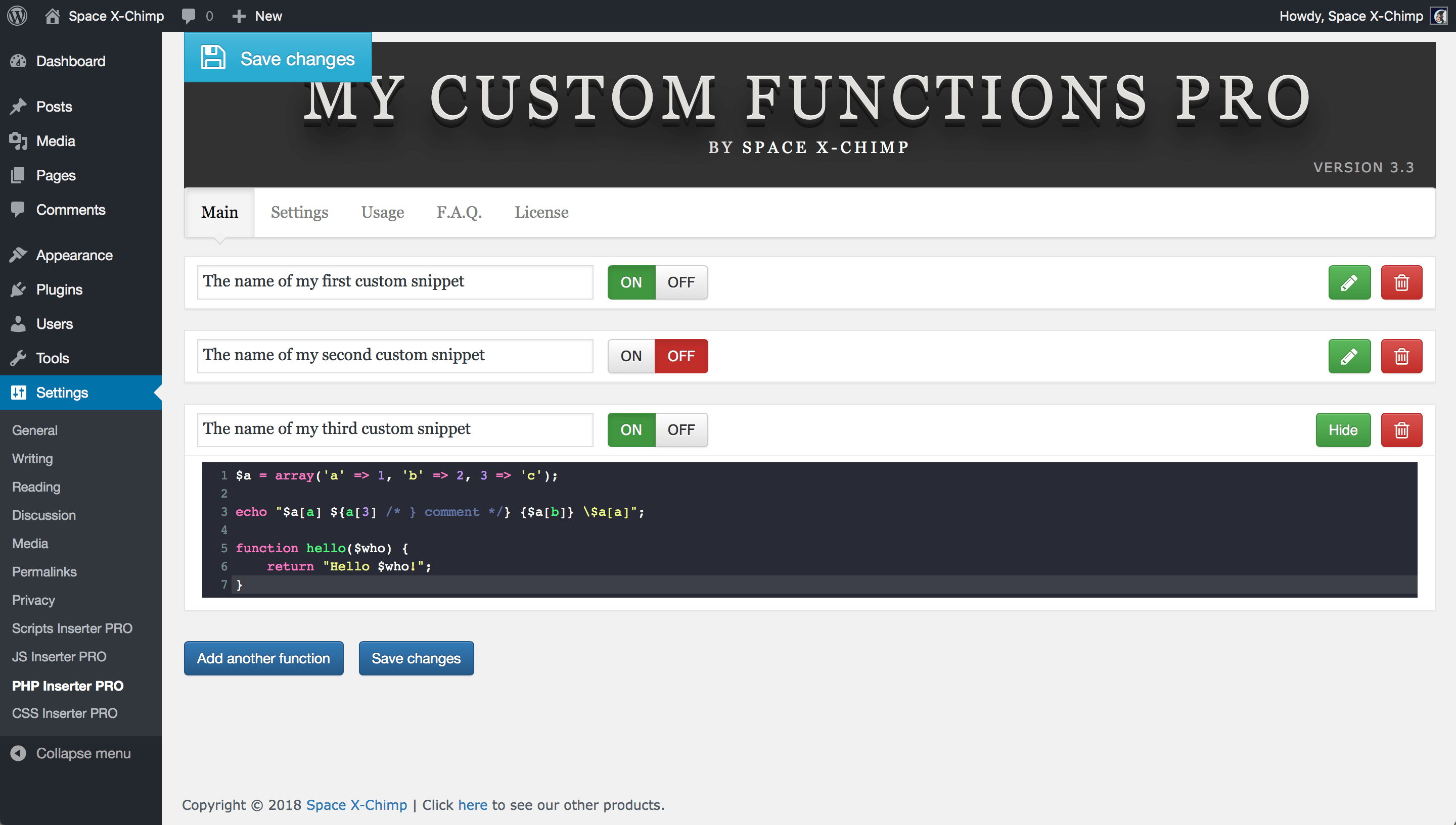 "WP plugin ""My Custom Functions PRO"" by Space X-Chimp"