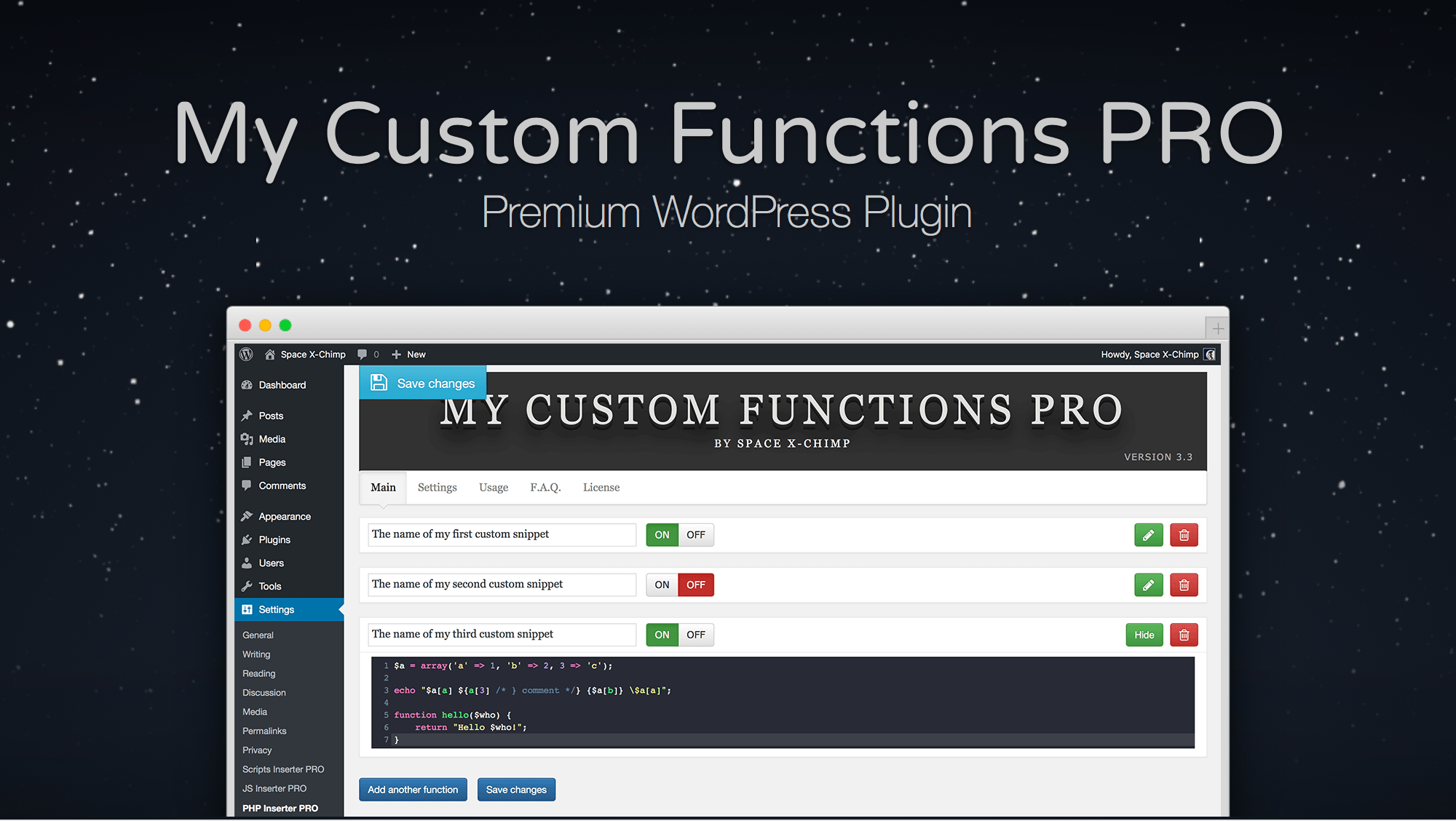 "WP plugin ""My Custom Functions PRO"" by SpaceX-Chimp"