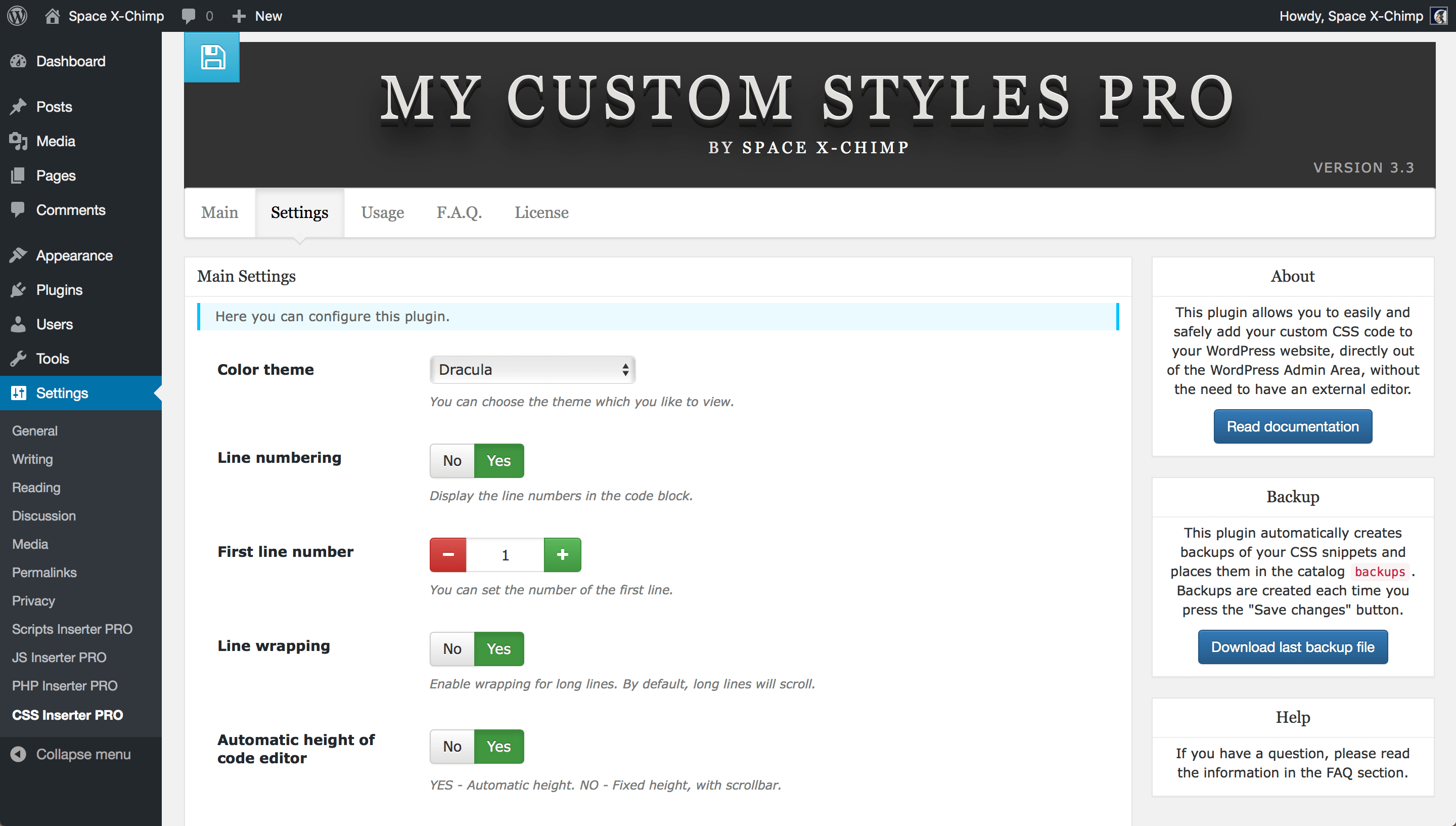 "WP plugin ""My Custom Styles PRO"" by Space X-Chimp"