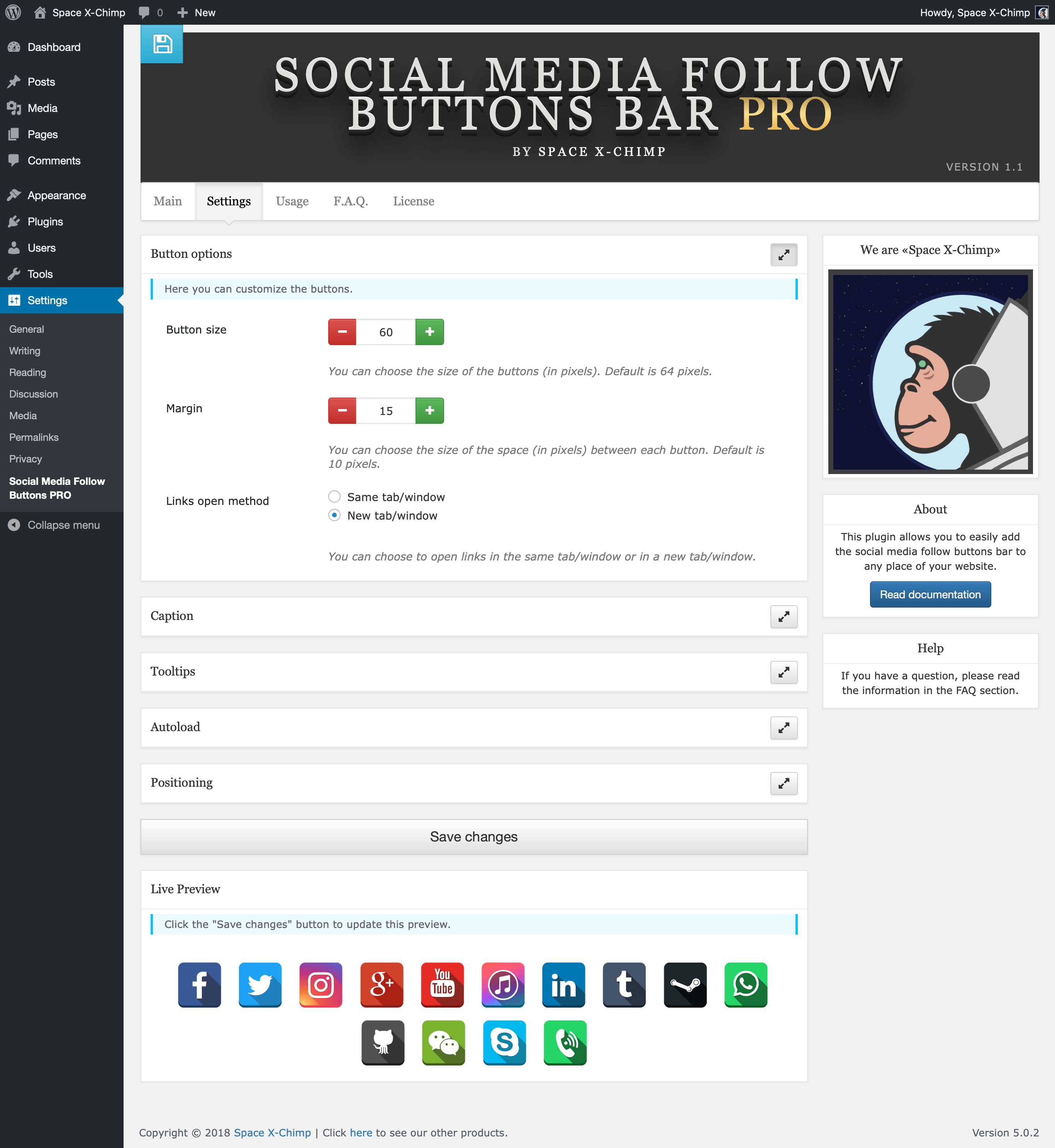 "WP plugin ""Social Media Follow Buttons Bar PRO"" by Space X-Chimp"