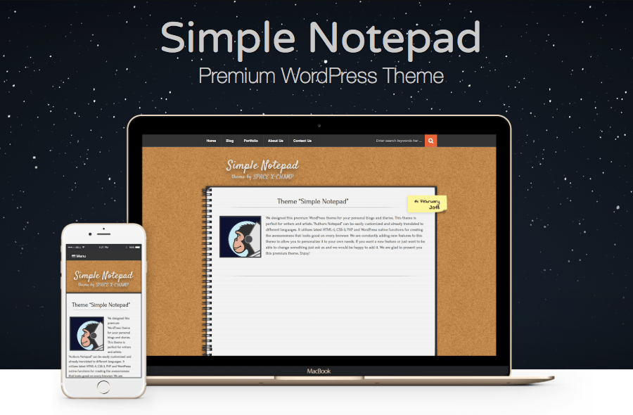 WP Theme Simple Notepad